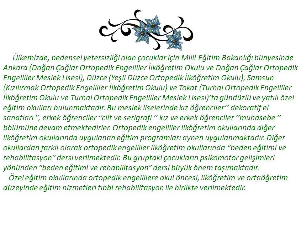 Ülkemizde, bedensel yetersizliği olan çocuklar için Milli Eğitim Bakanlığı bünyesinde Ankara (Doğan Çağlar Ortopedik Engelliler İlköğretim Okulu ve Do