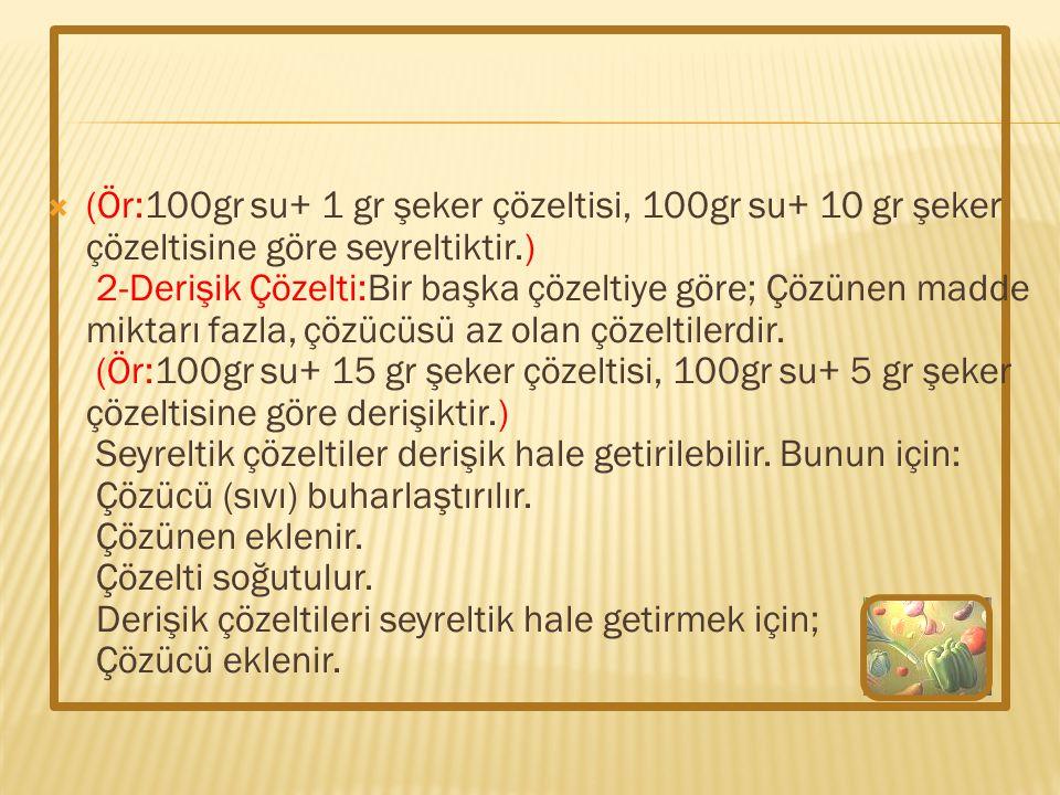  (Ör:100gr su+ 1 gr şeker çözeltisi, 100gr su+ 10 gr şeker çözeltisine göre seyreltiktir.) 2-Derişik Çözelti:Bir başka çözeltiye göre; Çözünen madde