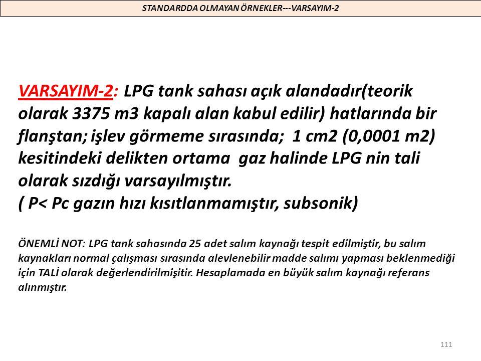 111 VARSAYIM-2: LPG tank sahası açık alandadır(teorik olarak 3375 m3 kapalı alan kabul edilir) hatlarında bir flanştan; işlev görmeme sırasında; 1 cm2