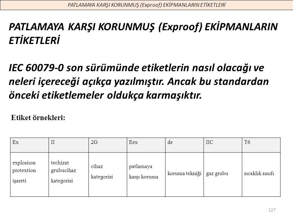 127 PATLAMAYA KARŞI KORUNMUŞ (Exproof) EKİPMANLARIN ETİKETLERİ IEC 60079-0 son sürümünde etiketlerin nasıl olacağı ve neleri içereceği açıkça yazılmış