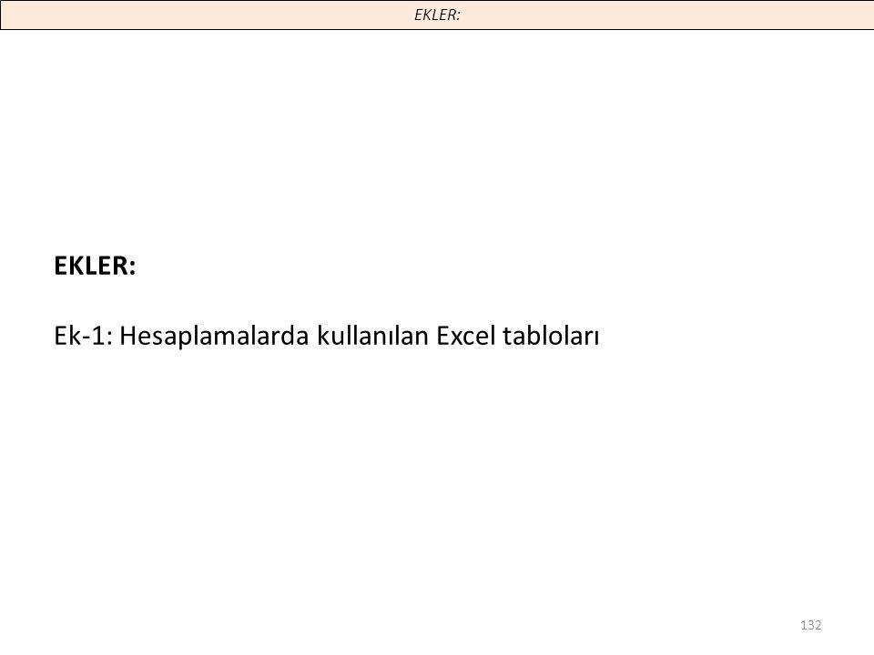 132 EKLER: Ek-1: Hesaplamalarda kullanılan Excel tabloları