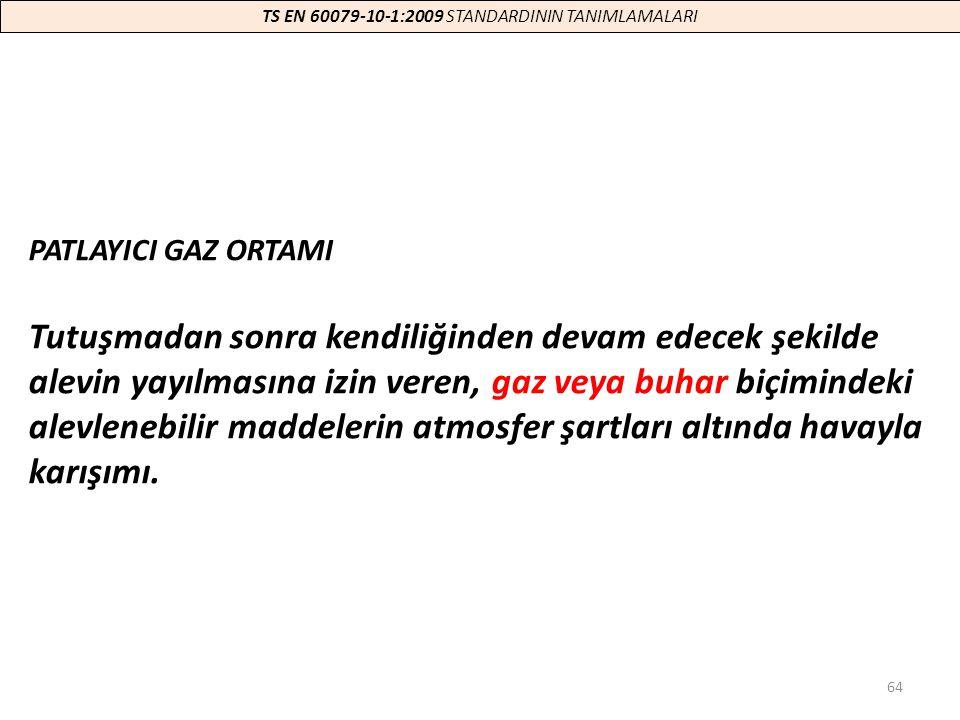 64 TS EN 60079-10-1:2009 STANDARDININ TANIMLAMALARI PATLAYICI GAZ ORTAMI Tutuşmadan sonra kendiliğinden devam edecek şekilde alevin yayılmasına izin v