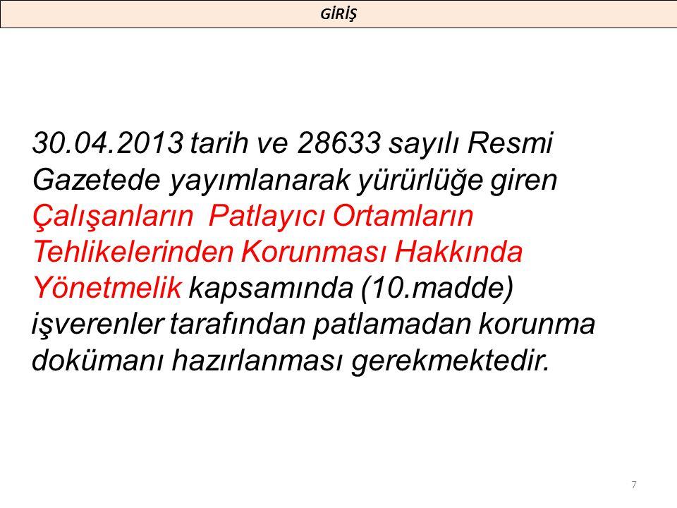 30.04.2013 tarih ve 28633 sayılı Resmi Gazetede yayımlanarak yürürlüğe giren Çalışanların Patlayıcı Ortamların Tehlikelerinden Korunması Hakkında Yöne