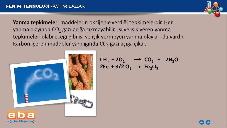 FEN ve TEKNOLOJİ / ASİT ve BAZLAR 3 Metan (CH 4 ), propan (C 3 H 8 ) ve bütan (C 4 H 10 ) gibi gazlar günlük hayatta yakıt olarak kullanılmaktadır.