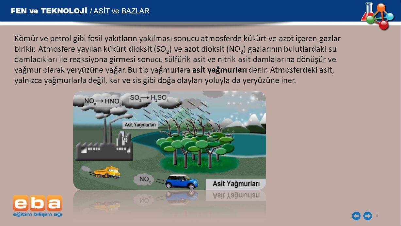 FEN ve TEKNOLOJİ / ASİT ve BAZLAR 15 Her yıl bacalar ve soba boruları temizlenmeli