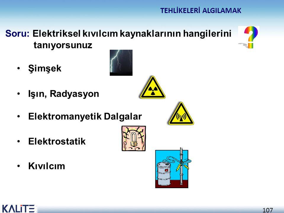 106 Tehlike Sembolleri Yasaklar Ateş, Açık Işık ve Sigara içmek yasaktır. İkaz İşaretleri TEHLİKELERİ ALGILAMAK Soru: Patlayıcı ortam oluşma tehlikesi