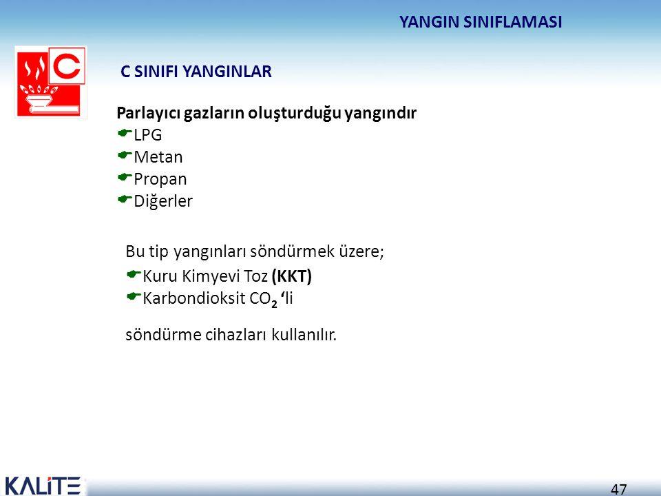 46 Sıvı veya sıvılaşabilen katı madde yangınlarıdır. Özellikle petrol ürünlerinden kaynaklanan yangınlardır.  Sıvı ve katı yağlar  Boyalar  Benzin
