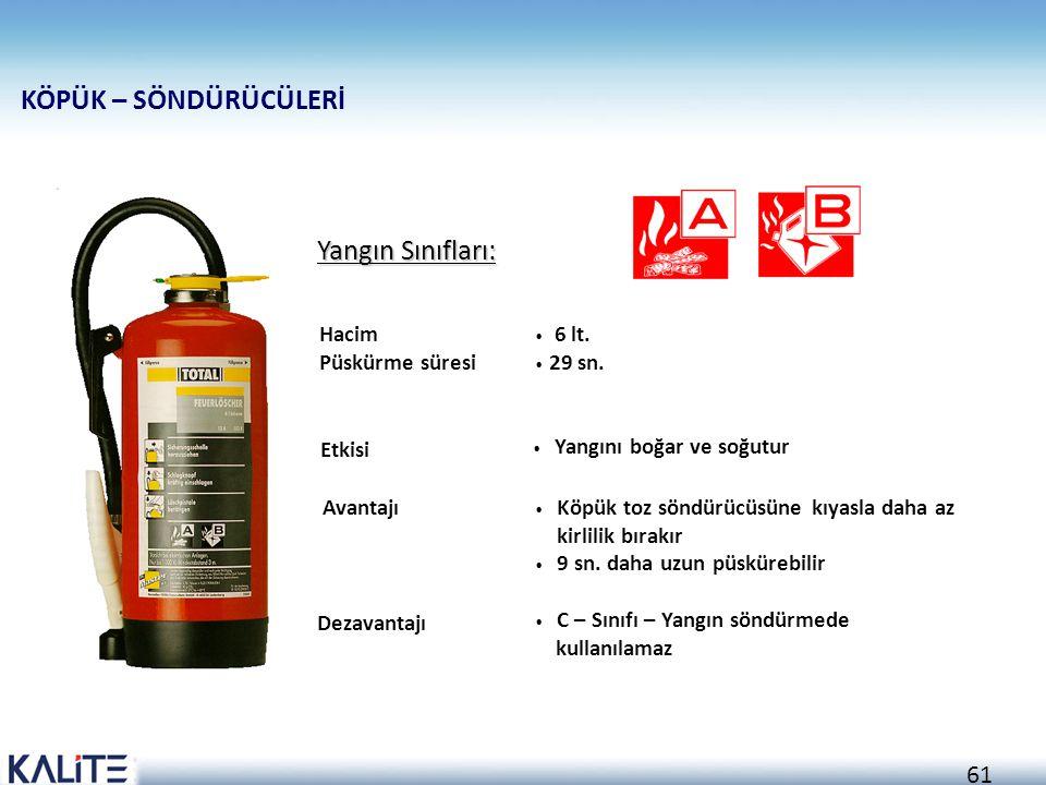 60 Yangın Sınıfları: Etkisi Yangını boğar Yangının genişleme aksiyonunu daraltır Hacim Püskürme süresi 6 kg 20 sn. Avantajı A, B ve C - sınıfı yangınl