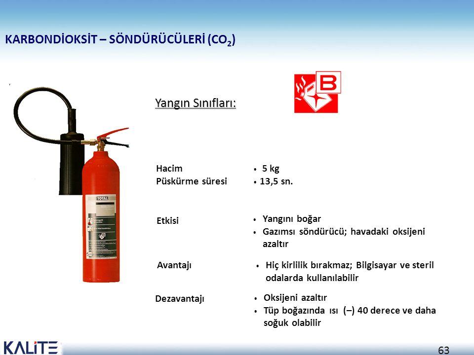 62 SU – SÖNDÜRÜCÜLERİ Yangın Sınıfları: Hacim Püskürme süresi Etkisi Avantajı Dezavantajı Yangını soğutur Elektrik akımlarını iletir Diğer söndürücüle