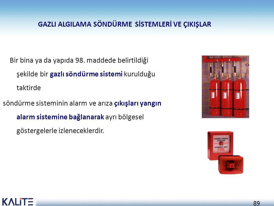 88 Yangın alarm sistemi;  Yangın algılama  Alarm verme  Kontrol ve haberleşme fonksiyonlarını içeren komple sistemdir. Yangın alarm sisteminin besl