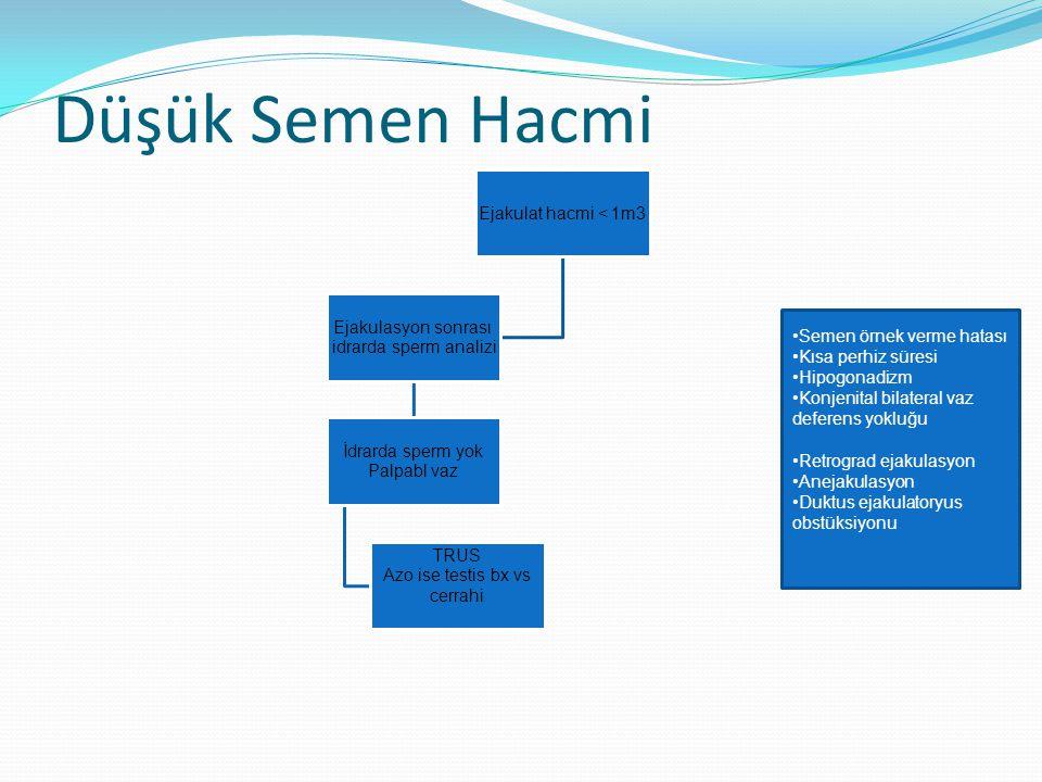 Düşük Semen Hacmi Ejakulat hacmi < 1m3 Ejakulasyon sonrası idrarda sperm analizi İdrarda sperm yok Palpabl vaz TRUS Azo ise testis bx vs cerrahi Semen