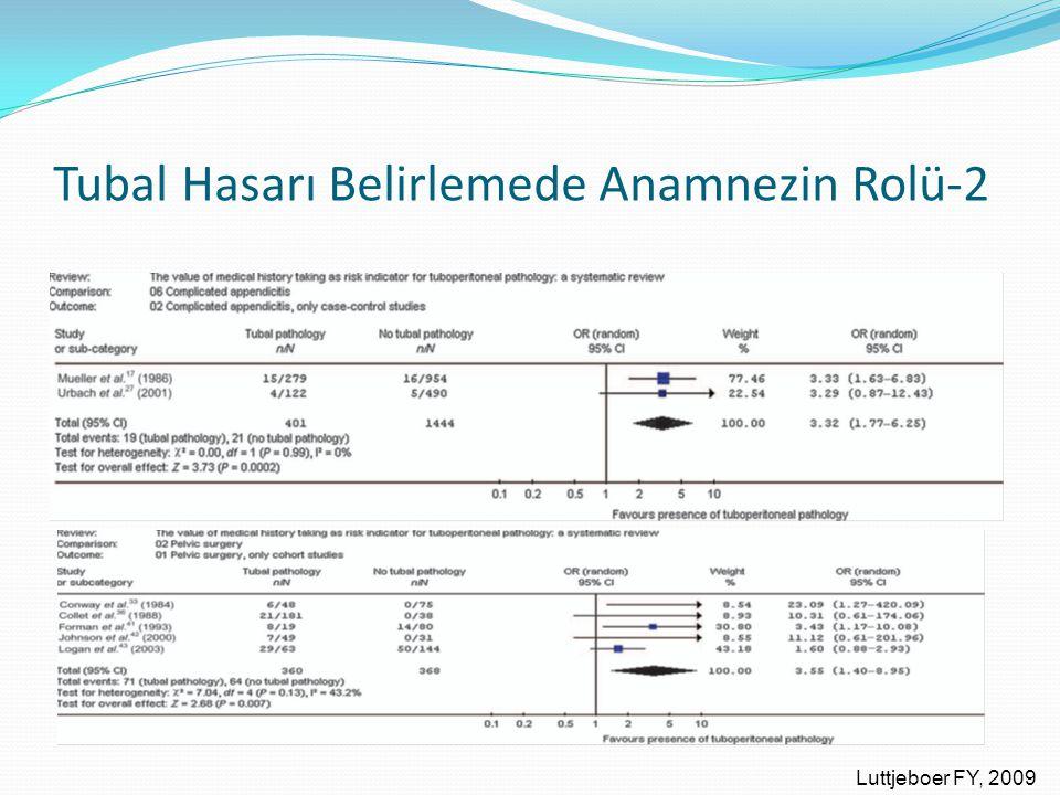 Tubal Hasarı Belirlemede Anamnezin Rolü-2 Luttjeboer FY, 2009