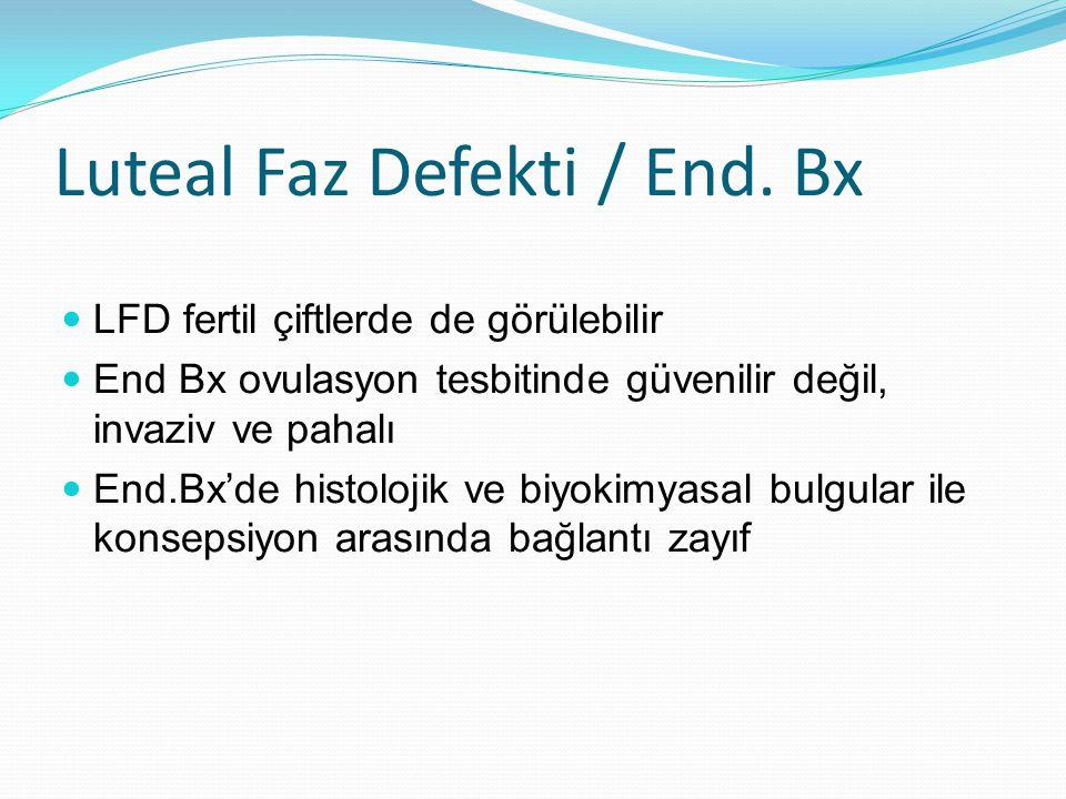 Luteal Faz Defekti / End. Bx LFD fertil çiftlerde de görülebilir End Bx ovulasyon tesbitinde güvenilir değil, invaziv ve pahalı End.Bx'de histolojik v