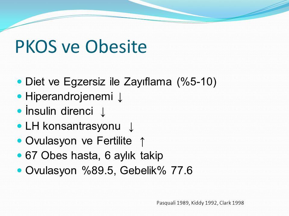 PKOS ve Obesite Diet ve Egzersiz ile Zayıflama (%5-10) Hiperandrojenemi ↓ İnsulin direnci ↓ LH konsantrasyonu ↓ Ovulasyon ve Fertilite ↑ 67 Obes hasta