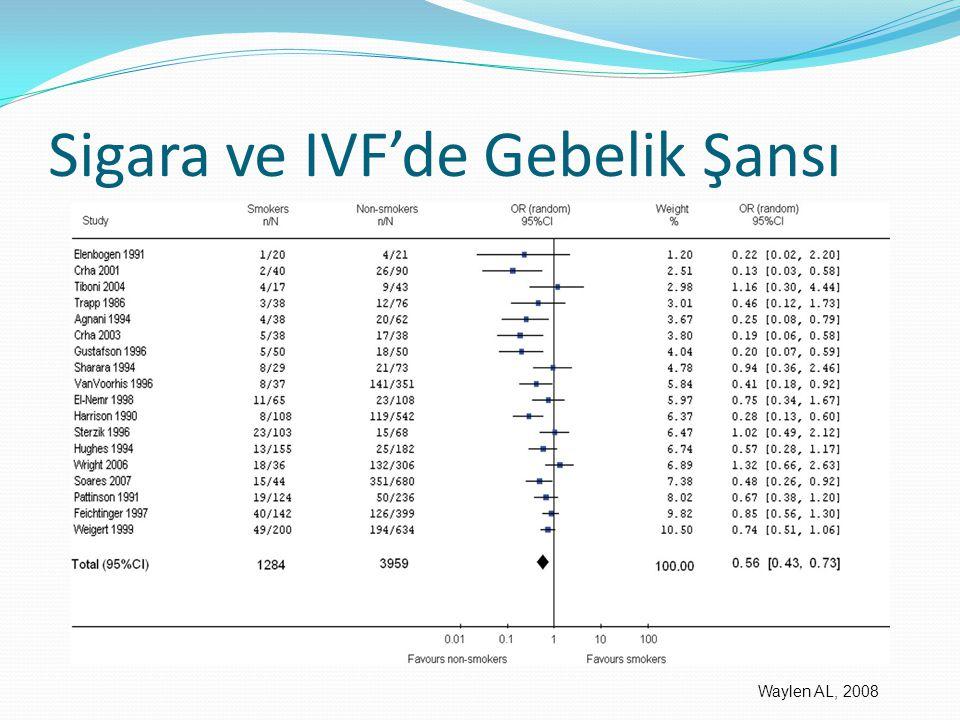 Sigara ve IVF'de Gebelik Şansı Waylen AL, 2008