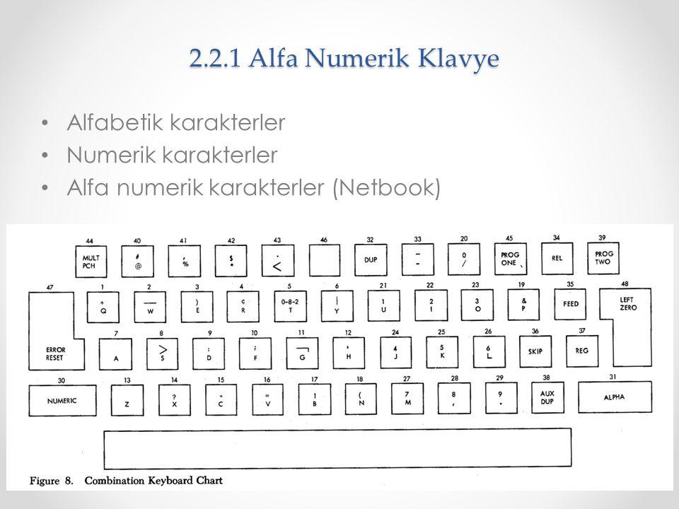 2.2.1 Alfa Numerik Klavye Alfabetik karakterler Numerik karakterler Alfa numerik karakterler (Netbook)