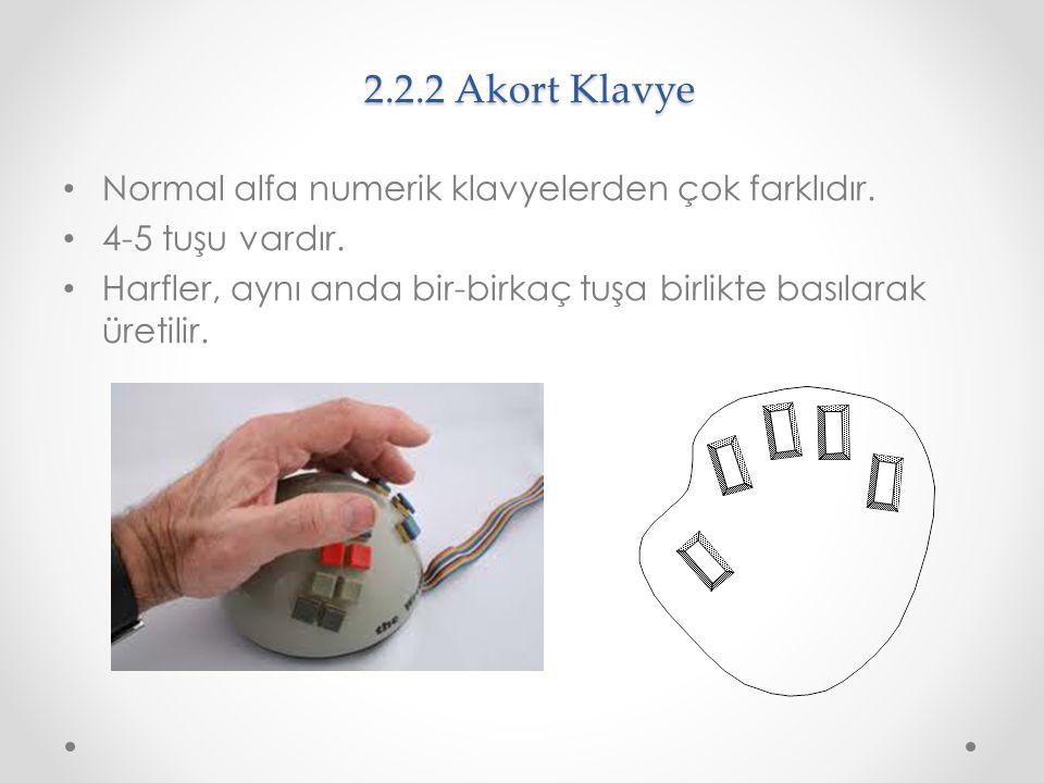 2.2.2 Akort Klavye Normal alfa numerik klavyelerden çok farklıdır. 4-5 tuşu vardır. Harfler, aynı anda bir-birkaç tuşa birlikte basılarak üretilir.