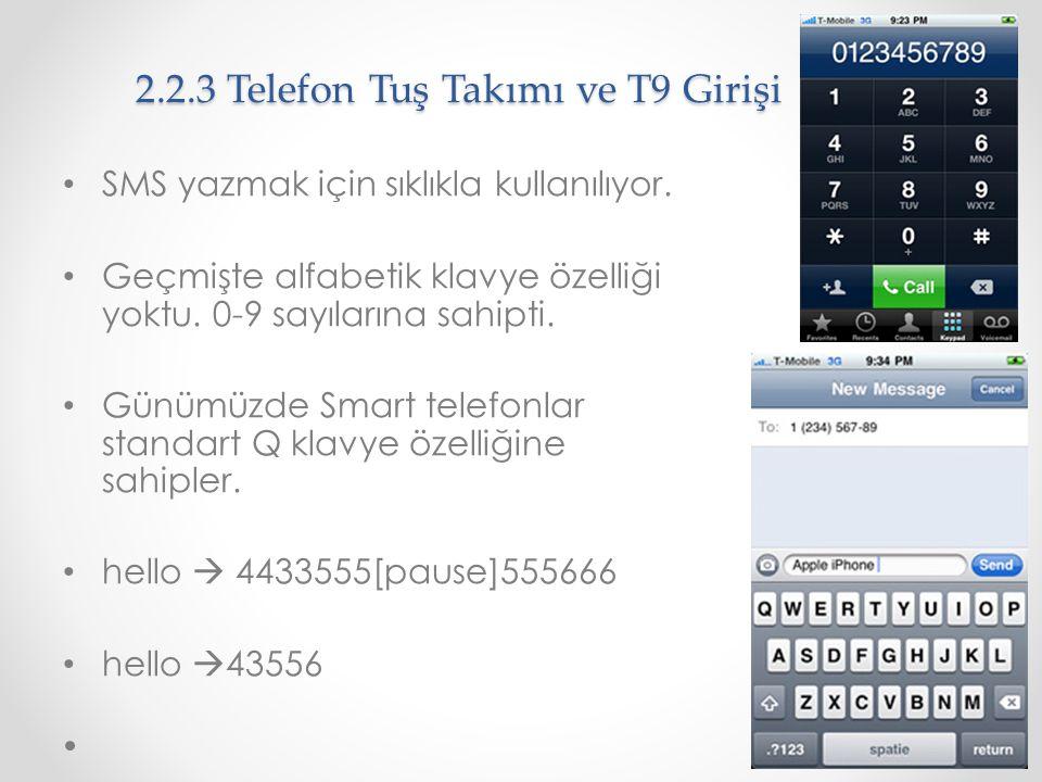 2.2.3 Telefon Tuş Takımı ve T9 Girişi SMS yazmak için sıklıkla kullanılıyor. Geçmişte alfabetik klavye özelliği yoktu. 0-9 sayılarına sahipti. Günümüz