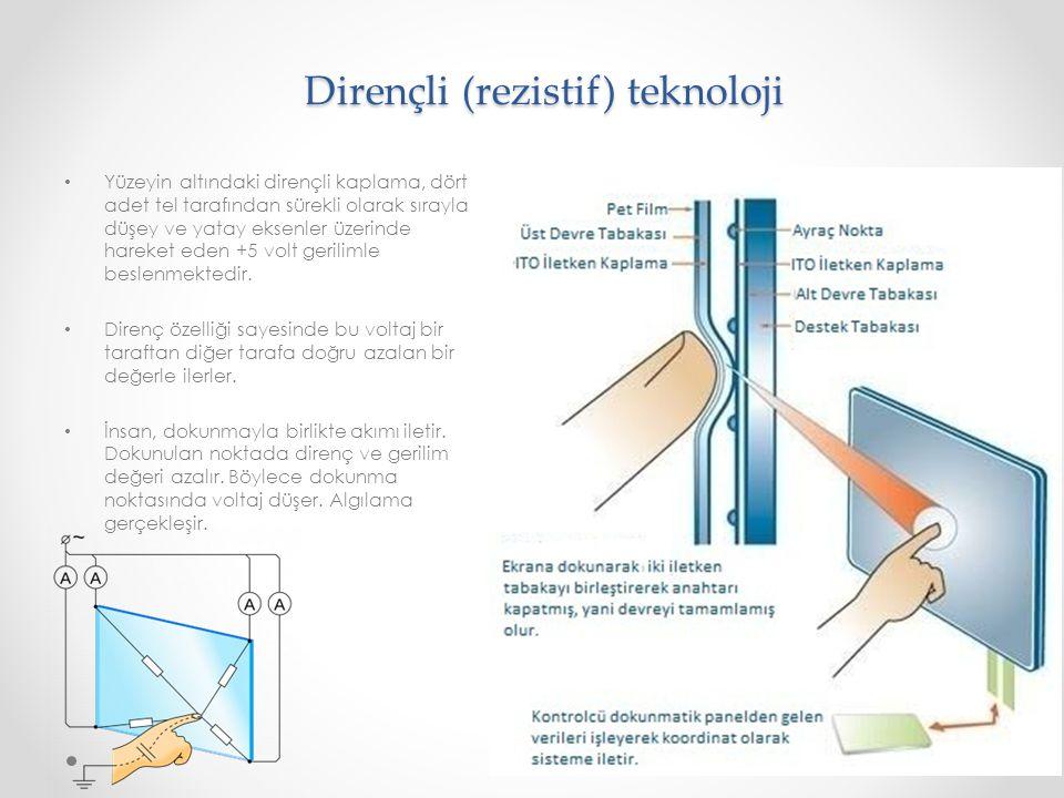 Dirençli (rezistif) teknoloji Dirençli (rezistif) teknoloji Yüzeyin altındaki dirençli kaplama, dört adet tel tarafından sürekli olarak sırayla düşey