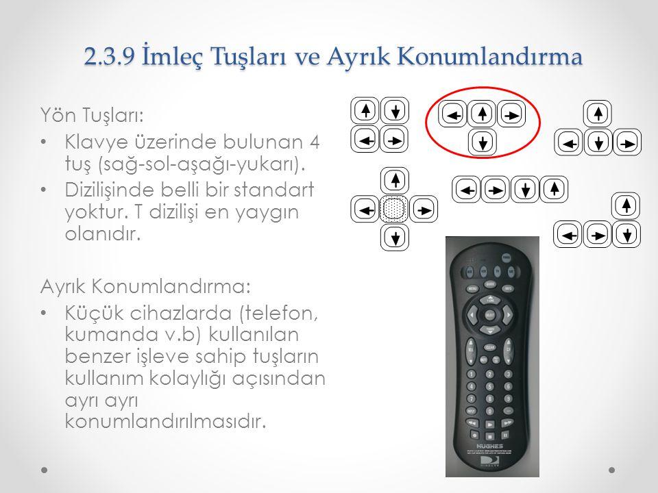 2.3.9 İmleç Tuşları ve Ayrık Konumlandırma Yön Tuşları: Klavye üzerinde bulunan 4 tuş (sağ-sol-aşağı-yukarı). Dizilişinde belli bir standart yoktur. T