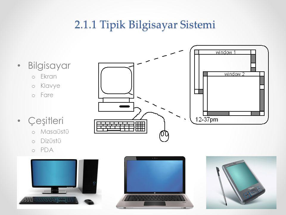 2.1.1 Tipik Bilgisayar Sistemi Bilgisayar o Ekran o Klavye o Fare Çeşitleri o Masaüstü o Dizüstü o PDA