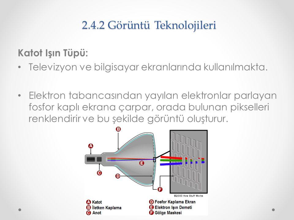 2.4.2 Görüntü Teknolojileri Katot Işın Tüpü: Televizyon ve bilgisayar ekranlarında kullanılmakta. Elektron tabancasından yayılan elektronlar parlayan