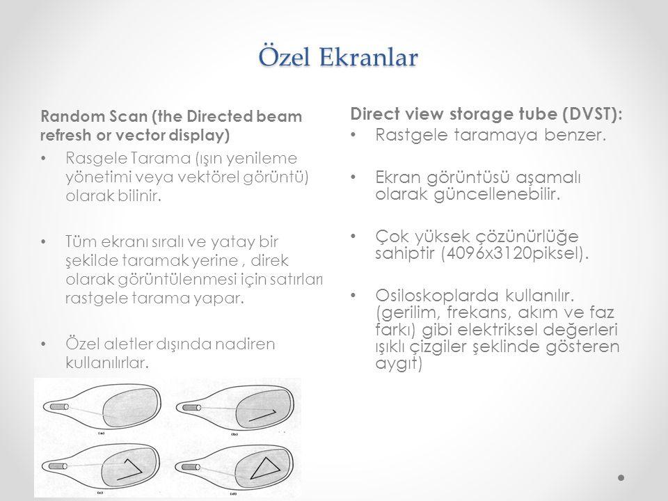 Özel Ekranlar Random Scan (the Directed beam refresh or vector display) Rasgele Tarama (ışın yenileme yönetimi veya vektörel görüntü) olarak bilinir.