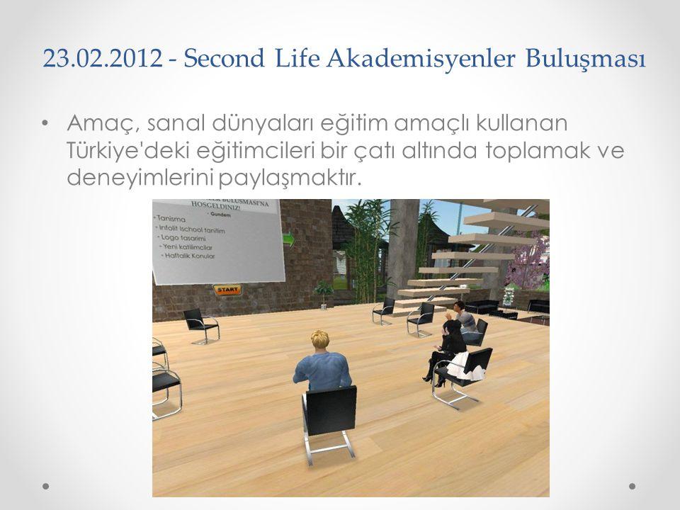 23.02.2012 - Second Life Akademisyenler Buluşması Amaç, sanal dünyaları eğitim amaçlı kullanan Türkiye'deki eğitimcileri bir çatı altında toplamak ve