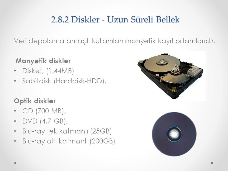 2.8.2 Diskler - Uzun Süreli Bellek Veri depolama amaçlı kullanılan manyetik kayıt ortamlarıdır. Manyetik diskler Disket, (1.44MB) Sabitdisk (Harddisk-