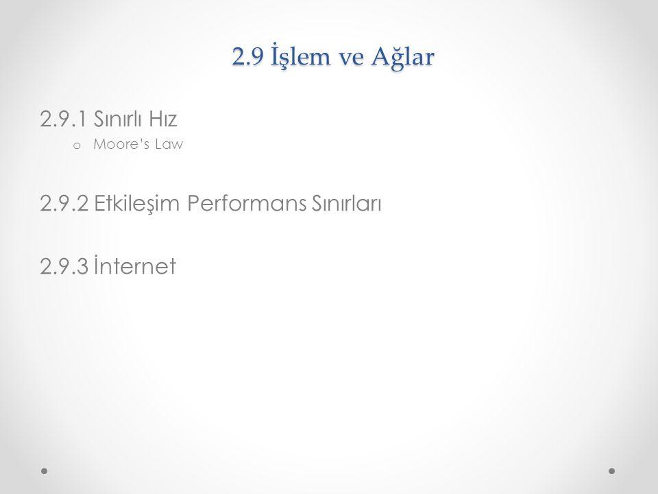 2.9 İşlem ve Ağlar 2.9.1 Sınırlı Hız o Moore's Law 2.9.2 Etkileşim Performans Sınırları 2.9.3 İnternet