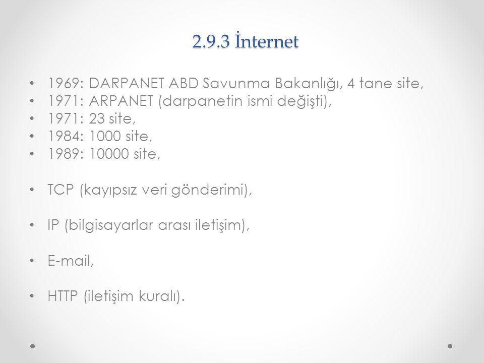 2.9.3 İnternet 1969: DARPANET ABD Savunma Bakanlığı, 4 tane site, 1971: ARPANET (darpanetin ismi değişti), 1971: 23 site, 1984: 1000 site, 1989: 10000