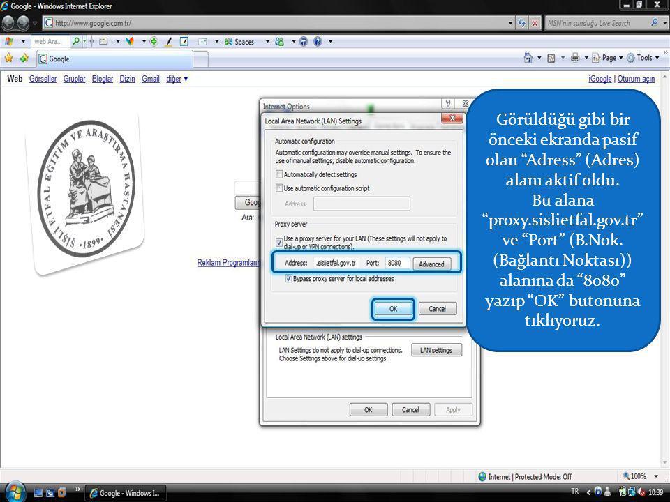 Görüldüğü gibi bir önceki ekranda pasif olan Adress (Adres) alanı aktif oldu.