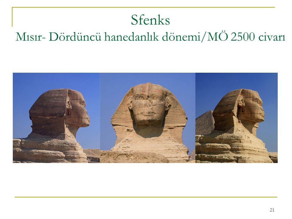 21 Sfenks Mısır- Dördüncü hanedanlık dönemi/MÖ 2500 civarı