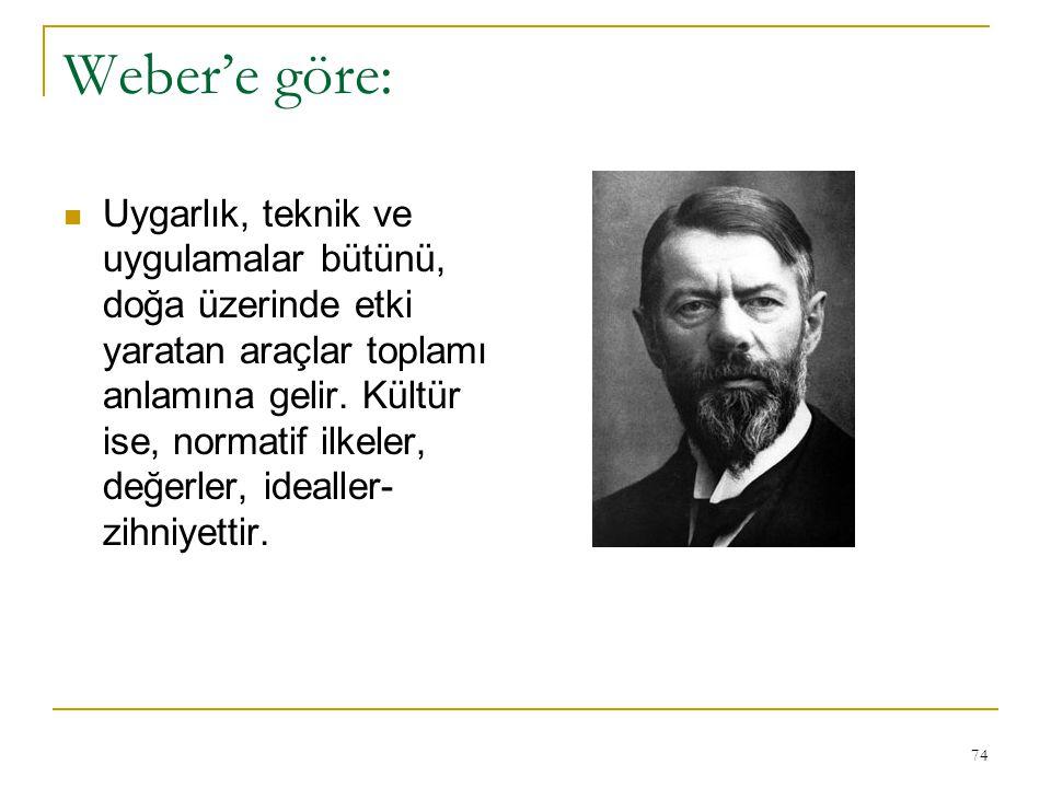 74 Weber'e göre: Uygarlık, teknik ve uygulamalar bütünü, doğa üzerinde etki yaratan araçlar toplamı anlamına gelir. Kültür ise, normatif ilkeler, değe