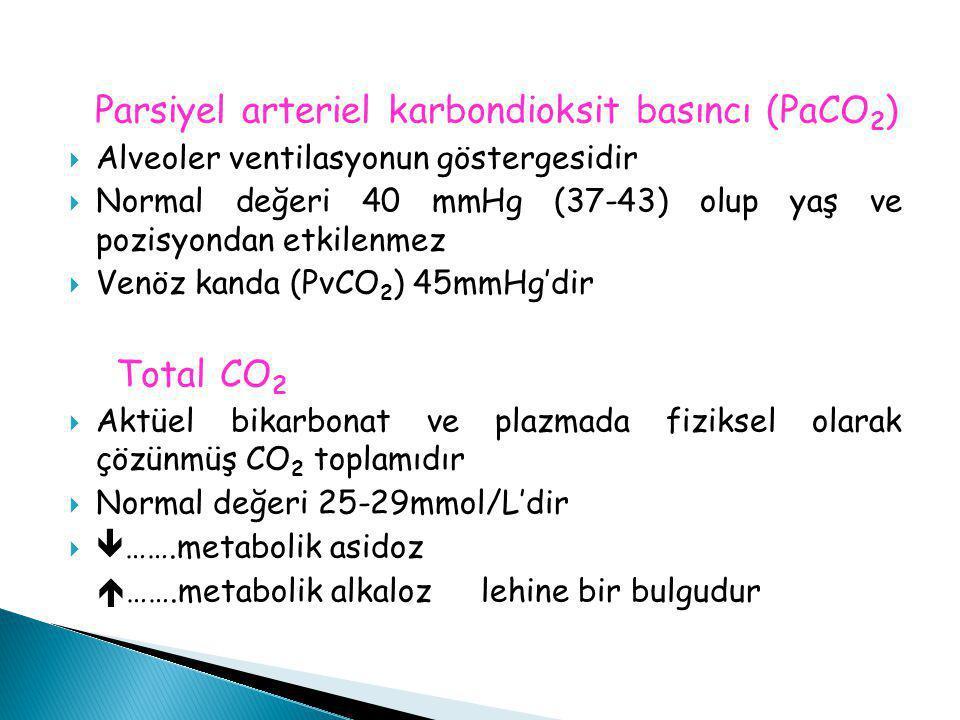 Parsiyel arteriel karbondioksit basıncı (PaCO 2 )  Alveoler ventilasyonun göstergesidir  Normal değeri 40 mmHg (37-43) olup yaş ve pozisyondan etkil