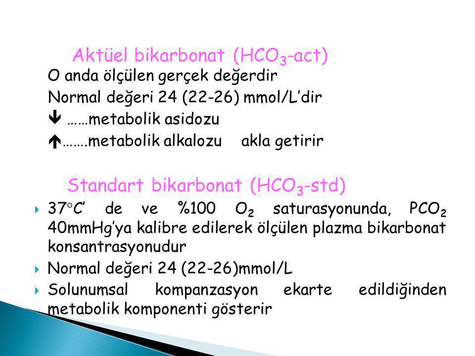 Aktüel bikarbonat (HCO 3 -act) O anda ölçülen gerçek değerdir Normal değeri 24 (22-26) mmol/L'dir  ……metabolik asidozu  …….metabolik alkalozu akla g