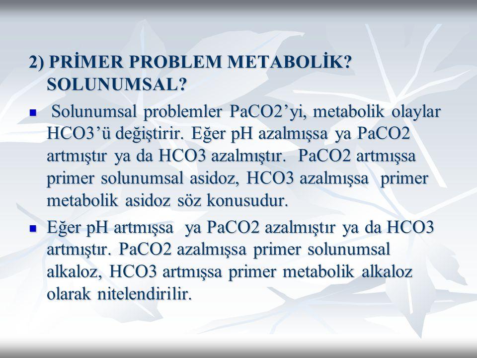 2) PRİMER PROBLEM METABOLİK.SOLUNUMSAL.