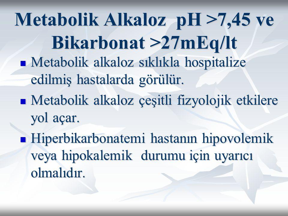 Metabolik Alkaloz pH >7,45 ve Bikarbonat >27mEq/lt Metabolik alkaloz sıklıkla hospitalize edilmiş hastalarda görülür.