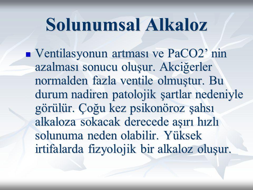 Solunumsal Alkaloz Ventilasyonun artması ve PaCO2' nin azalması sonucu oluşur.