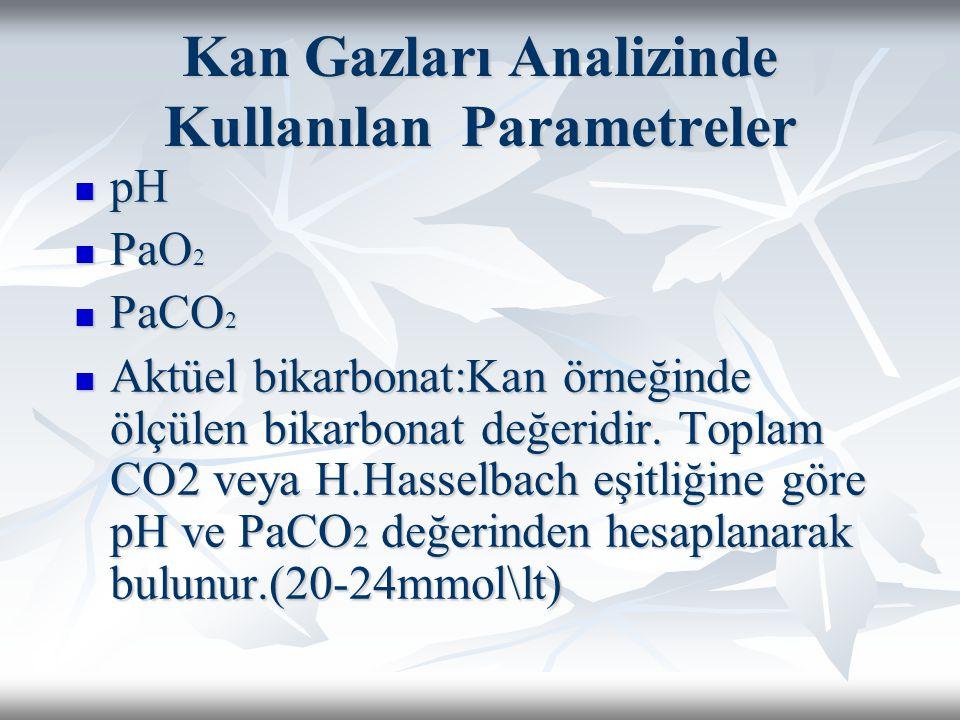 Kan Gazları Analizinde Kullanılan Parametreler pH pH PaO 2 PaO 2 PaCO 2 PaCO 2 Aktüel bikarbonat:Kan örneğinde ölçülen bikarbonat değeridir.