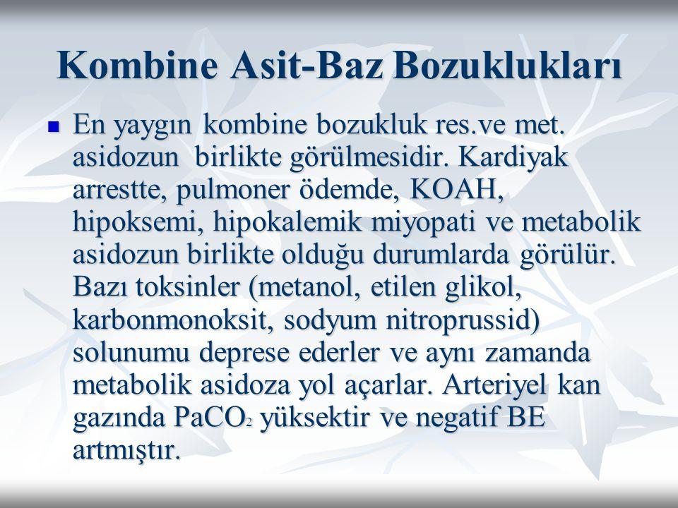 Kombine Asit-Baz Bozuklukları En yaygın kombine bozukluk res.ve met.