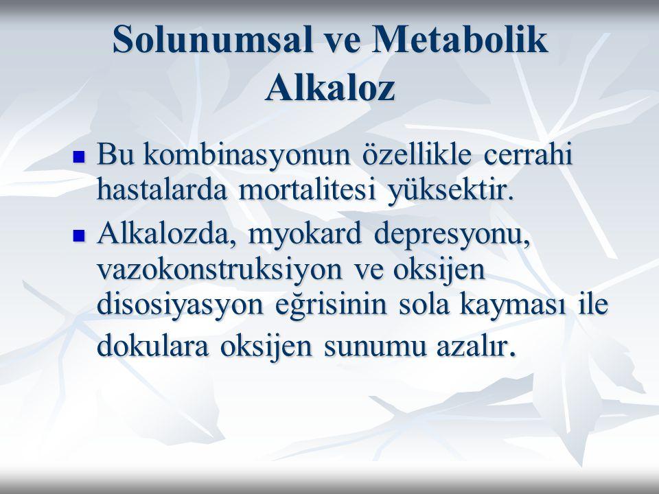 Solunumsal ve Metabolik Alkaloz Bu kombinasyonun özellikle cerrahi hastalarda mortalitesi yüksektir.