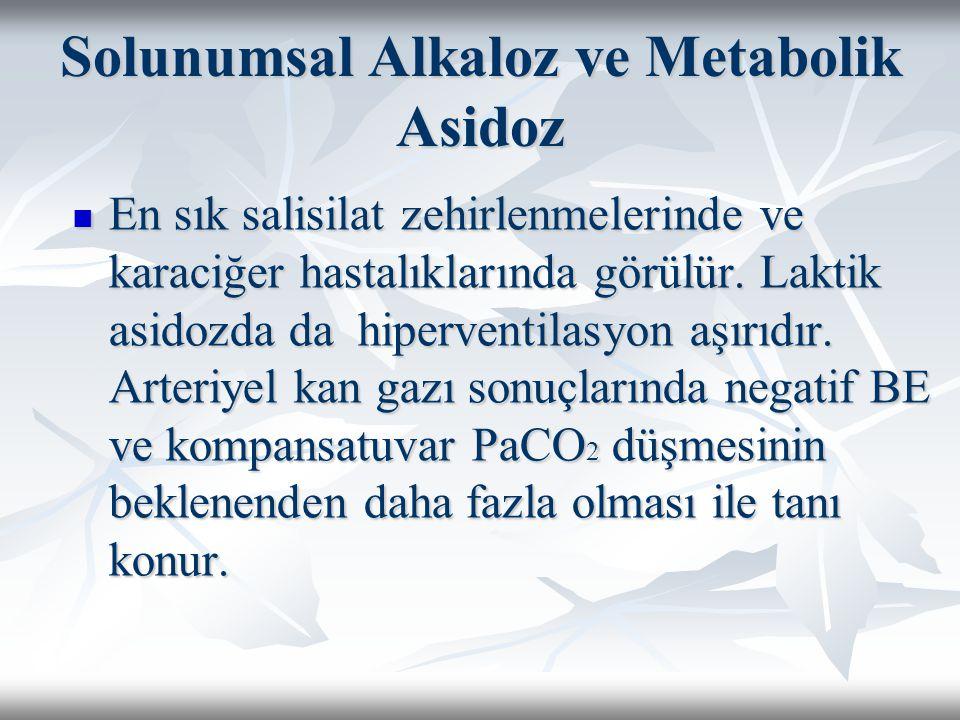Solunumsal Alkaloz ve Metabolik Asidoz En sık salisilat zehirlenmelerinde ve karaciğer hastalıklarında görülür.