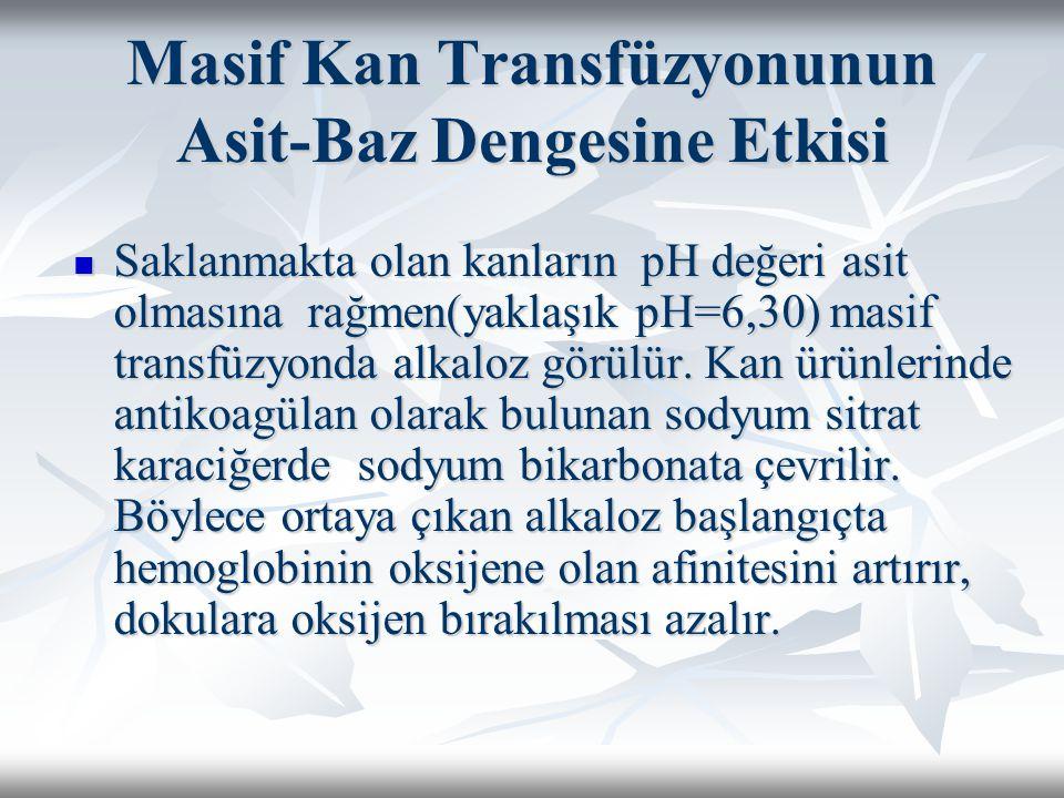 Masif Kan Transfüzyonunun Asit-Baz Dengesine Etkisi Saklanmakta olan kanların pH değeri asit olmasına rağmen(yaklaşık pH=6,30) masif transfüzyonda alkaloz görülür.