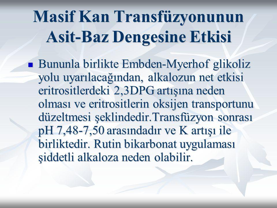 Masif Kan Transfüzyonunun Asit-Baz Dengesine Etkisi Bununla birlikte Embden-Myerhof glikoliz yolu uyarılacağından, alkalozun net etkisi eritrositlerdeki 2,3DPG artışına neden olması ve eritrositlerin oksijen transportunu düzeltmesi şeklindedir.Transfüzyon sonrası pH 7,48-7,50 arasındadır ve K artışı ile birliktedir.
