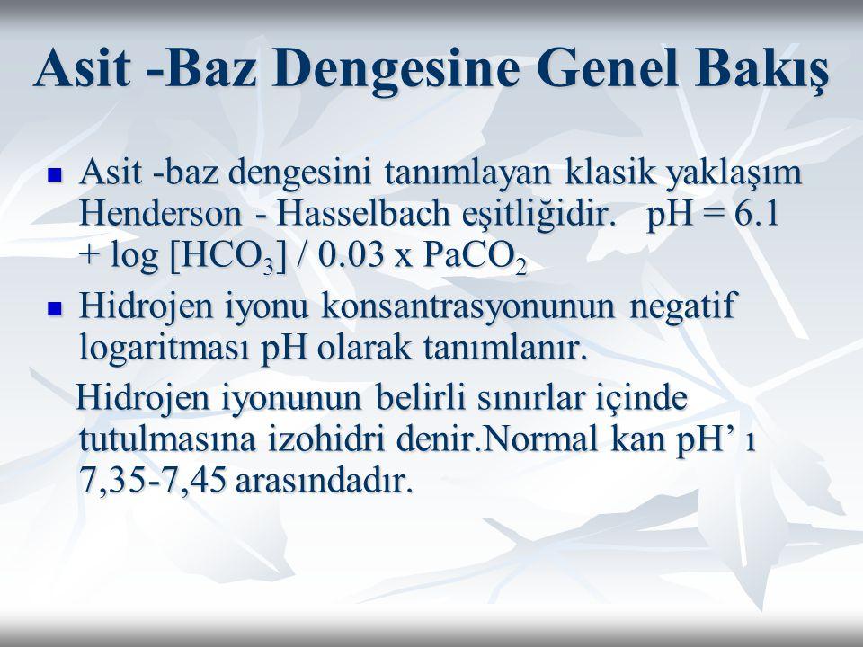 Asit -Baz Dengesine Genel Bakış Asit -baz dengesini tanımlayan klasik yaklaşım Henderson - Hasselbach eşitliğidir.