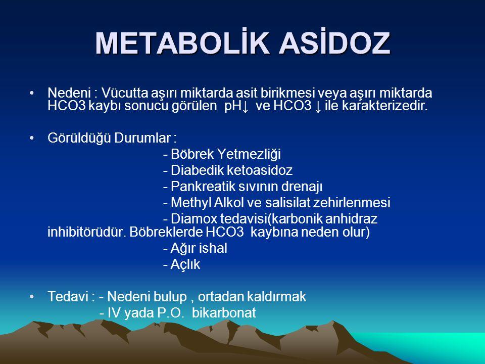 METABOLİK ASİDOZ Nedeni : Vücutta aşırı miktarda asit birikmesi veya aşırı miktarda HCO3 kaybı sonucu görülen pH↓ ve HCO3 ↓ ile karakterizedir. Görüld