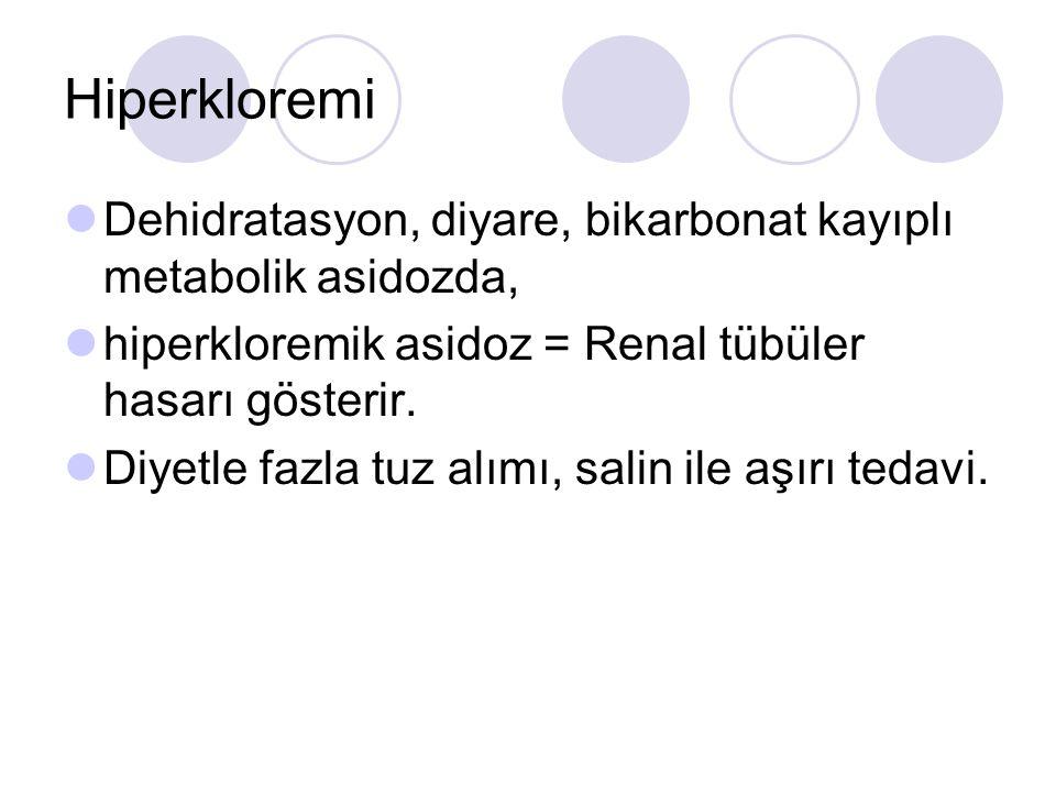 Hiperkloremi Dehidratasyon, diyare, bikarbonat kayıplı metabolik asidozda, hiperkloremik asidoz = Renal tübüler hasarı gösterir.