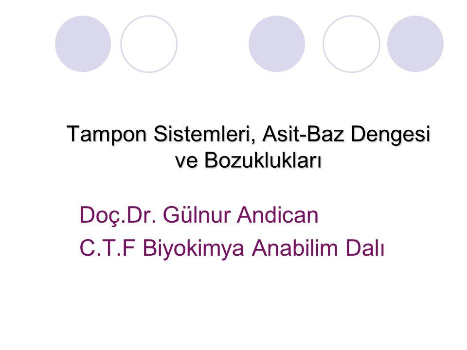 Tampon Sistemleri, Asit-Baz Dengesi ve Bozuklukları Doç.Dr. Gülnur Andican C.T.F Biyokimya Anabilim Dalı