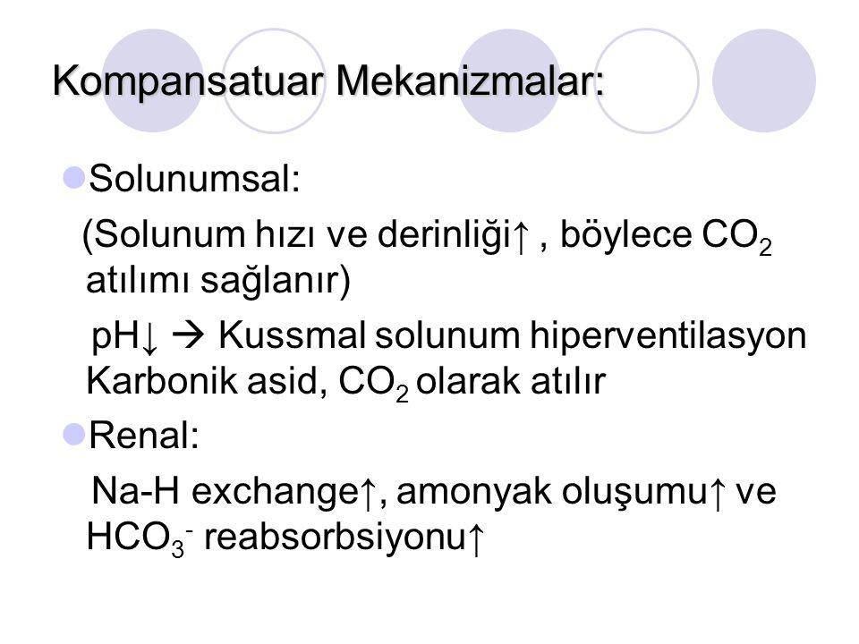 Kompansatuar Mekanizmalar: Solunumsal: (Solunum hızı ve derinliği↑, böylece CO 2 atılımı sağlanır) pH↓  Kussmal solunum hiperventilasyon Karbonik asid, CO 2 olarak atılır Renal: Na-H exchange↑, amonyak oluşumu↑ ve HCO 3 - reabsorbsiyonu↑